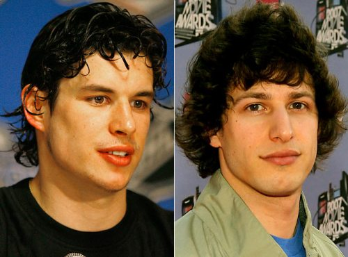 Andy Samberg of the 2008 SNL digital short 'Jizz in my Pants', pictured twice.